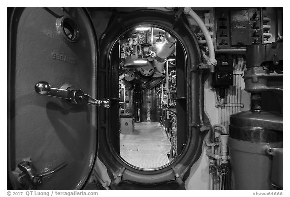 Waterproof divider door, USS Bowfin submarine, Pearl Harbor. Oahu island, Hawaii, USA (black and white)