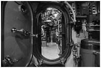 Waterproof divider door, USS Bowfin submarine, Pearl Harbor. Oahu island, Hawaii, USA ( black and white)