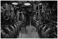 Submarine machine room, USS Bowfin, World War 2 Valor in the Pacific National Monument. Oahu island, Hawaii, USA ( black and white)
