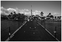 Deck of the submarine USS Bowfin, World War 2 Valor in the Pacific National Monument. Oahu island, Hawaii, USA ( black and white)
