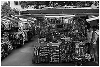 International Market, Waikiki. Waikiki, Honolulu, Oahu island, Hawaii, USA ( black and white)