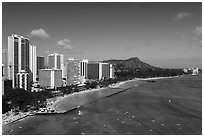 Aerial view of Kuhio Beach, Waikiki skyline and Diamond Head. Waikiki, Honolulu, Oahu island, Hawaii, USA ( black and white)