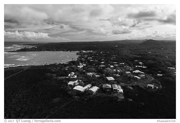 Aerial view of residential community on edge of lava field. Big Island, Hawaii, USA (black and white)