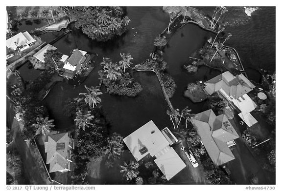 Aerial view of houses and Champagne Ponds. Big Island, Hawaii, USA (black and white)