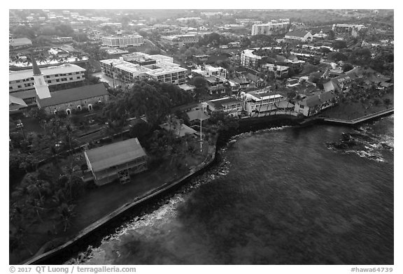 Aerial view of Kailua with Hulihee Palace. Hawaii, USA (black and white)