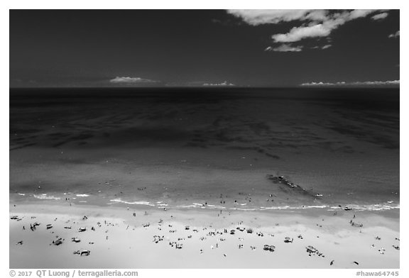Aerial view of Hapuna Beach and Ocean. Big Island, Hawaii, USA (black and white)