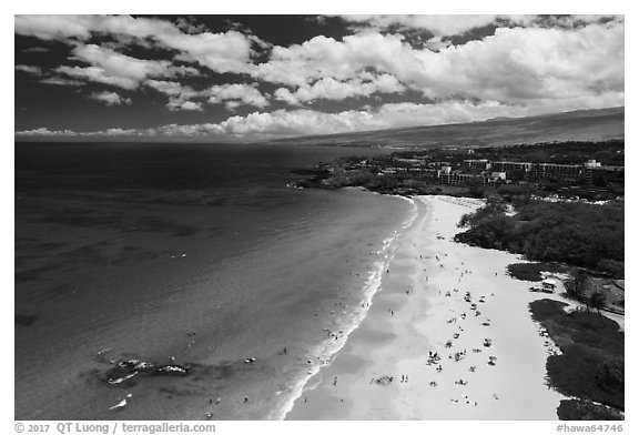 Aerial view of Hapuna Beach and resorts. Big Island, Hawaii, USA (black and white)
