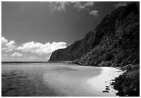 Olosega Island seen from the Asaga Strait. American Samoa (black and white)