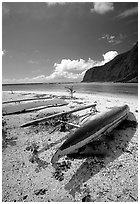Traditional polynesian canoes near the Asaga Strait, Ofu Island. American Samoa (black and white)