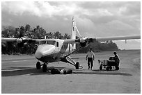 Plane on the airstrip of Ofu Island. American Samoa ( black and white)