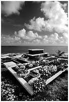 Tombs near the ocean in Vailoa. Tutuila, American Samoa ( black and white)