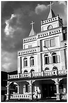 The main church in Leone, the first chuch on American Samoa. Tutuila, American Samoa (black and white)