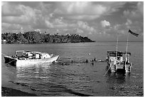 Leone Bay. Tutuila, American Samoa ( black and white)