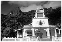 Church and verdant hills in Afono. Tutuila, American Samoa (black and white)