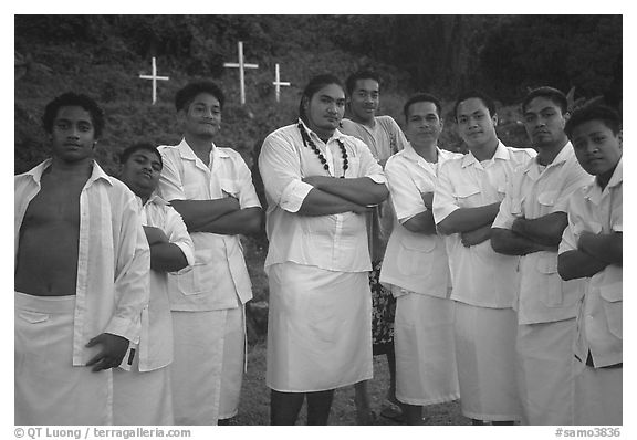 Sunday men churchgoers traditionally dressed, Pago Pago. Pago Pago, Tutuila, American Samoa (black and white)