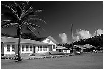 Village of Tula. Tutuila, American Samoa (black and white)