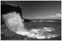 Crashing wave at Maamaa cove. Aunuu Island, American Samoa ( black and white)