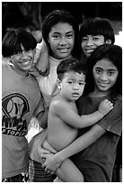 Children in Alofau. Tutuila, American Samoa (black and white)