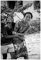 Girls in Aunuu village. Aunuu Island, American Samoa ( black and white)