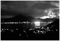 Pago Pago harbor at night. Pago Pago, Tutuila, American Samoa (black and white)