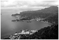 Pago Pago harbor seen from Mount Alava. Pago Pago, Tutuila, American Samoa (black and white)