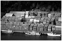 Containers in Pago Pago harbor. Pago Pago, Tutuila, American Samoa (black and white)