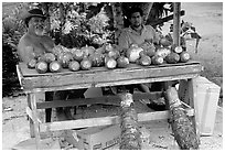 Vegetable stand in Iliili. Tutuila, American Samoa (black and white)