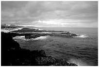Balsalt rocks on the Vaitogi coast, site of the Shark and Turtle legend. Tutuila, American Samoa (black and white)