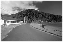 Masefau village. Tutuila, American Samoa (black and white)
