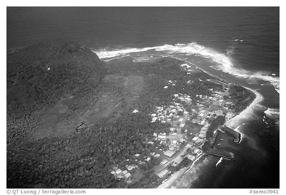 Aerial view of Aanuu village. Aunuu Island, American Samoa (black and white)