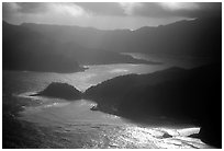 Aerial view of Pago Pago harbor. Pago Pago, Tutuila, American Samoa ( black and white)