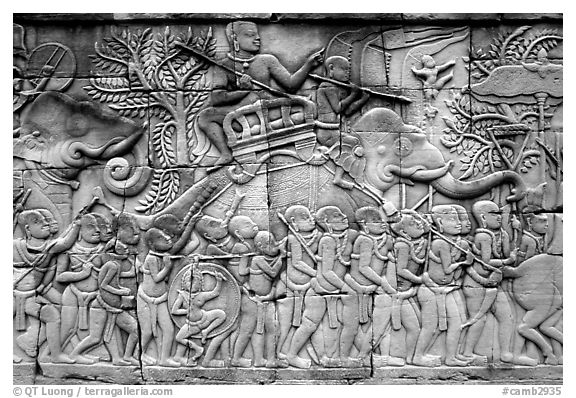 Bas reliefs, the Bayon. Angkor, Cambodia (black and white)