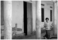 Woman in downtown building. Phnom Penh, Cambodia ( black and white)