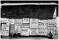 School bulletin board. Phnom Penh, Cambodia (black and white)