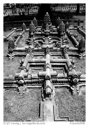 Model of Angkor Wat found in Phnom Phen. Angkor, Cambodia (black and white)