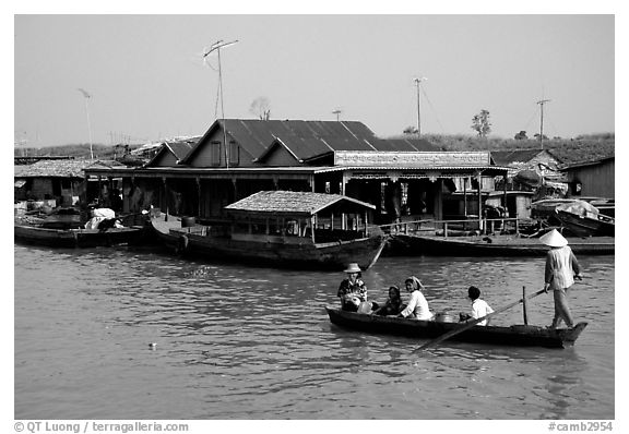 Houses along Tonle Sap river. Cambodia (black and white)