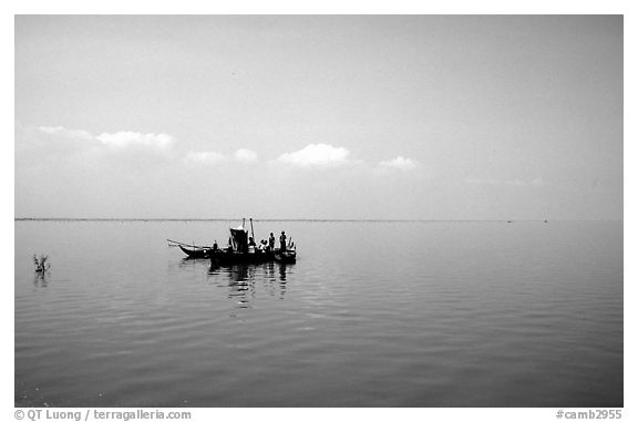 Immensity of the Tonle Sap. Cambodia (black and white)