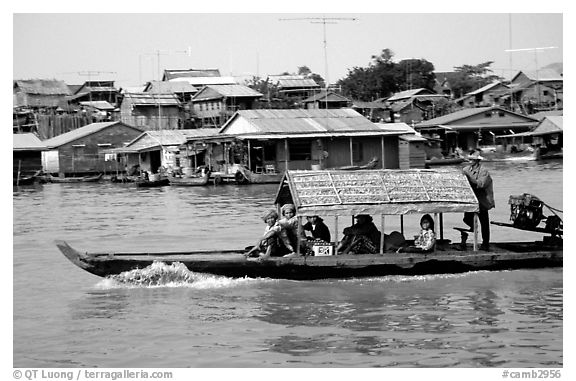 Motor boat along Tonle Sap river. Cambodia (black and white)