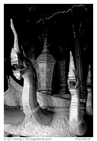 Funeral vehicle at Wat Xieng Thong. Luang Prabang, Laos (black and white)