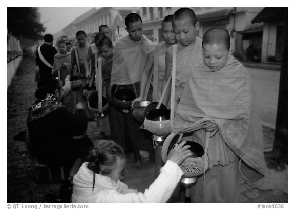 Women give alm during morning procession of buddhist monks. Luang Prabang, Laos (black and white)