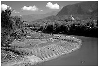 Fields on the banks of the Nam Khan river. Luang Prabang, Laos (black and white)