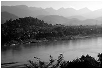 The town accross the Mekong river. Luang Prabang, Laos (black and white)