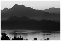 Hills, sunset on the Mekong river. Luang Prabang, Laos (black and white)