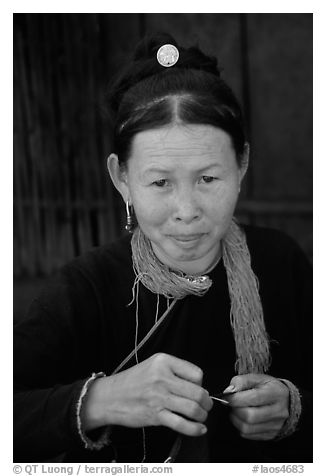 Woman of the Lao Huay tribe in Ban Nam Sang village. Laos (black and white)