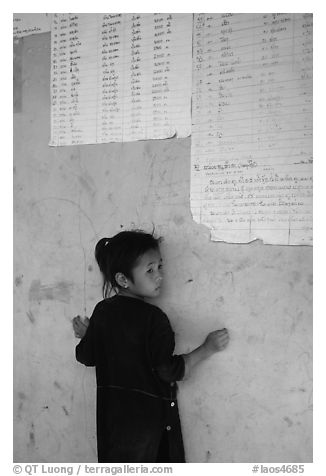 Girl of the Lao Huay tribe, Ban Nam Sang village. Laos (black and white)