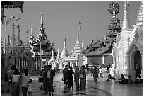 Walking on the platform, Shwedagon Paya. Yangon, Myanmar (black and white)