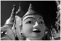 Planetery post, Shwedagon Paya. Yangon, Myanmar (black and white)