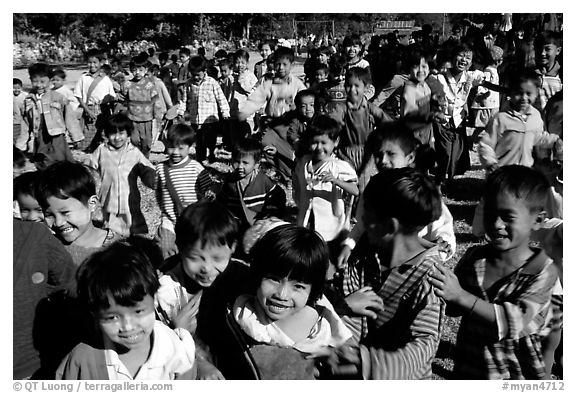 Children at a school. Mount Popa, Myanmar (black and white)
