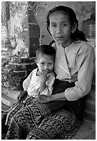 Older burmese woman and child. Bagan, Myanmar (black and white)
