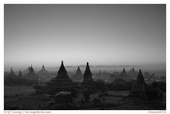 Sunrise over the plain doted with 2000 temples. Bagan, Myanmar (black and white)